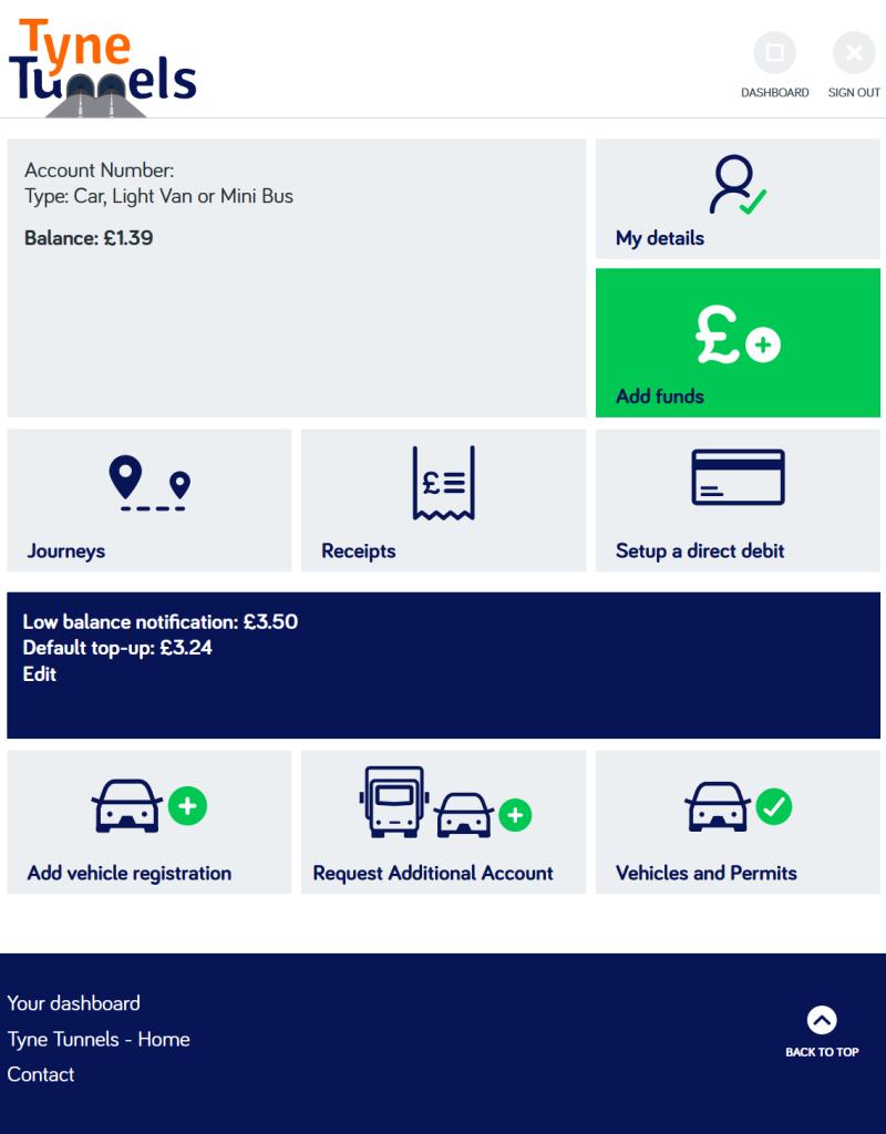 Tyne Tunnels Topup Website